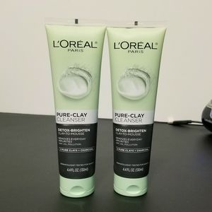 ❤ (2) L'oreal Clay & Charcoal Cleansers Bundle Lot